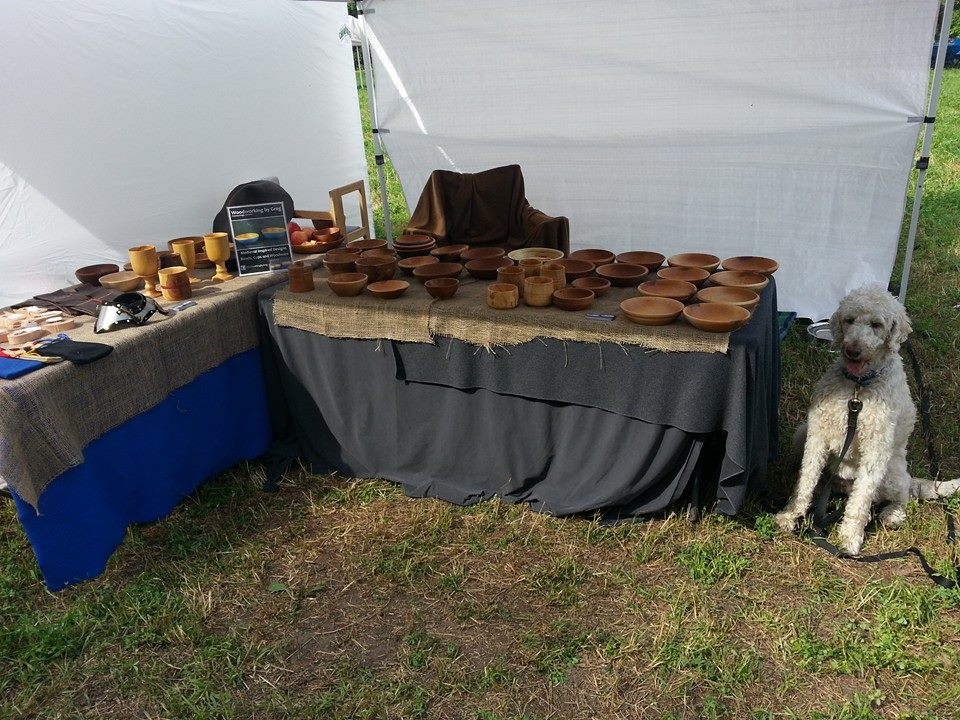 My merchant booth and my dog.